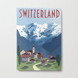 Switzerland Swiss Alps Vintage Travel Poster Commercial Air Travel Poster Metal Print