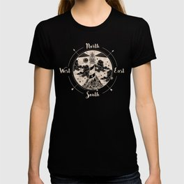 Lighthouse Compass Ocean Waves Gold T-shirt