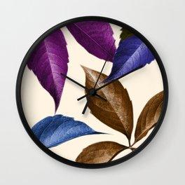Coppertone Multi-color Leaves Wall Clock