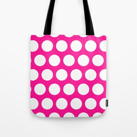 Big polka dots on deep pink Tote Bag