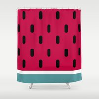 watermelon Shower Curtains featuring Watermelon by According to Panda