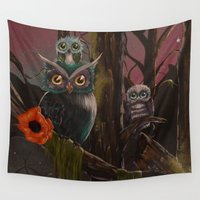 forrest Wall Tapestries featuring Owl Forrest by Annelies202