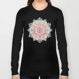 Autumn Spice Mandala in Coral, Cream and Rose Long Sleeve T-shirt