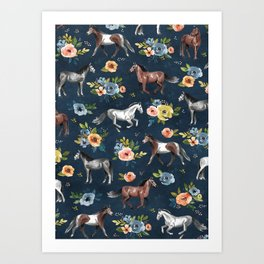 Wild Horses, Horse and Floral Print, Navy Blue, Watercolor Painting, Illustrated Horses, Flowers,  Art Print
