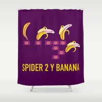 nfl Shower Curtains featuring Spider 2 Y Banana by Wave Sports
