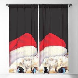 Peeking Santa Cat Blackout Curtain