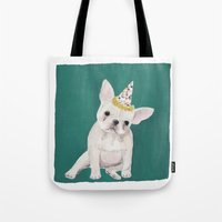 puppies Tote Bags featuring Party puppies  by Jackie Diedam