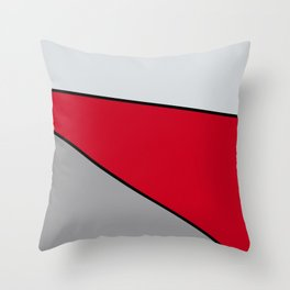 Diagonal Color Blocks in Red and Grays Throw Pillow