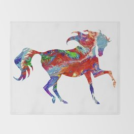 Horse Colorful Silhouette Throw Blanket
