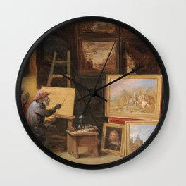 Teniers  David - The Monkey Painter Wall Clock
