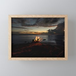 Fire Twirl at Sunset Framed Mini Art Print
