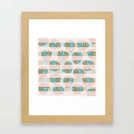 Modern Monstera Pattern Q Framed Art Print