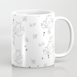 Fox and Flowers Doodle Pattern Coffee Mug