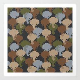 Elephant Camouflage Pattern Art Print