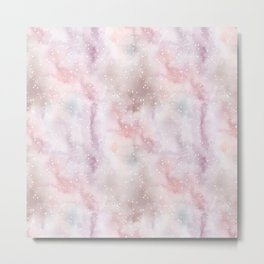 Mauve pink lilac white watercolor paint splatters Metal Print