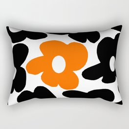 Large Orange and Black Retro Flowers White Background #decor #society6 #buyart Rectangular Pillow