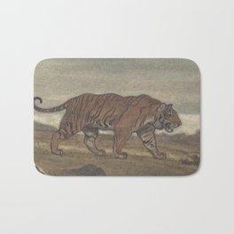 Vintage Illustration of a Striped Tiger (1875) Bath Mat