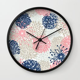 Floral Mixed Blooms, Blush Pink, Navy Blue, Gray, Beige Wall Clock