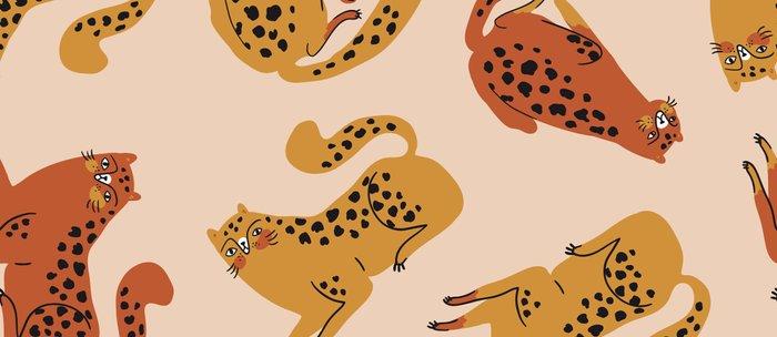 Cute Sassy Leopards Orange Yellow Colorful Bold Fun Cartoon Pattern Coffee Mug