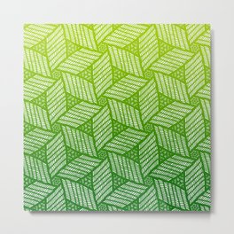 Japanese style wood carving pattern in green Metal Print