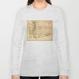 Vintage Map of Washington State (1866) Long Sleeve T-shirt