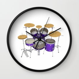 Purple Drum Kit Wall Clock