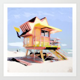 Miami Beach Life Guard Stand Art Print