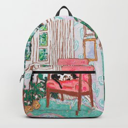 Little Naps - Tuxedo Cat Napping in a Pink Mid-Century Chair by the Window Backpack
