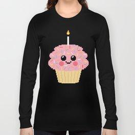 Happy Pixel Cupcake Long Sleeve T-shirt