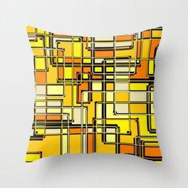 Vintage Yellow Print Throw Pillow