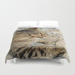 Relaxed Tabby Cat Against Stones and Pebbles Duvet Cover