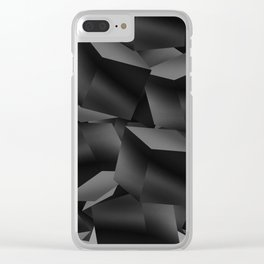 Black Fade Cubes Clear iPhone Case