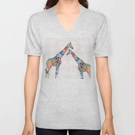 Colorful Giraffe Art - I've Got Your Back - By Sharon Cummings Unisex V-Neck