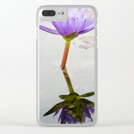 Blue Lotus Reflection Clear iPhone Case