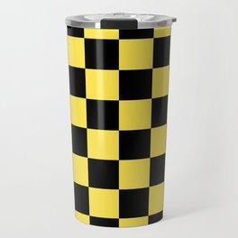 Checkered Pattern: Black & Taxi Yellow Travel Mug