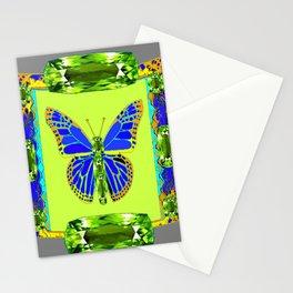 BLUE & GREEN  BUTTERFLY PERIDOT GEMMED GEOMETRIC Stationery Cards