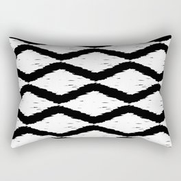 Black and White Tribal Ikat Pattern Rectangular Pillow