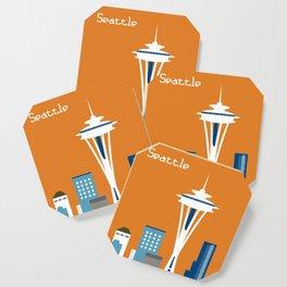 Seattle, Washington - Skyline Illustration by Loose Petals Coaster