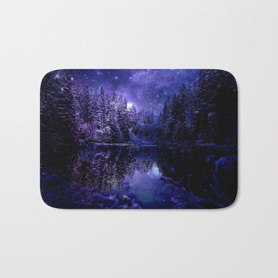 Winter Forest Deep Purple Blue Bath Mat