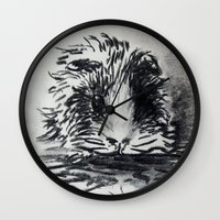 guinea pig Wall Clocks featuring Charcoal Guinea Pig by Miss emZ