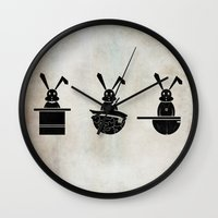 rabbits Wall Clocks featuring rabbits by gazonula