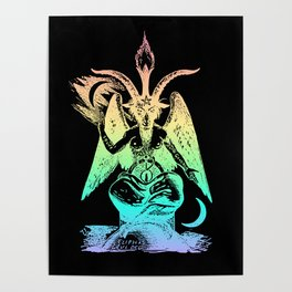 Pastel Rainbow Baphomet Poster