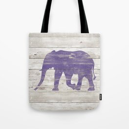 Violet Elephant on White Wood A222c Tote Bag