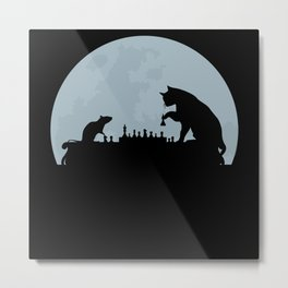 Cat And Rat Play Chess Metal Print