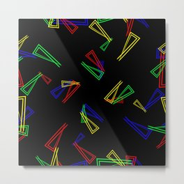 Patterns from flowing lines and triangles in multi colored tones for fabric or decorations. Metal Print