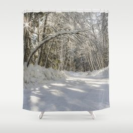 Covered in White Shower Curtain