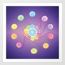 blue spiral v2 Art Print