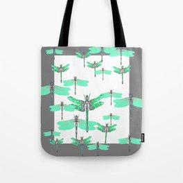 WHITE FLIGHT OF GREEN DRAGONFLIES GREY DESIGN Tote Bag