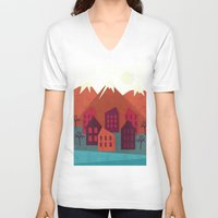 mountains V-neck T-shirts featuring Mountains by Kakel