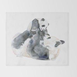 Mother and Baby Panda Bears Throw Blanket